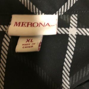 Merona Tops - Merona XL Black & White windowpane Blouse
